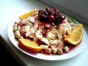 Ensalada de frutas y tuerca.