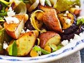 البطاطا محشوة بالأرز والفطر.