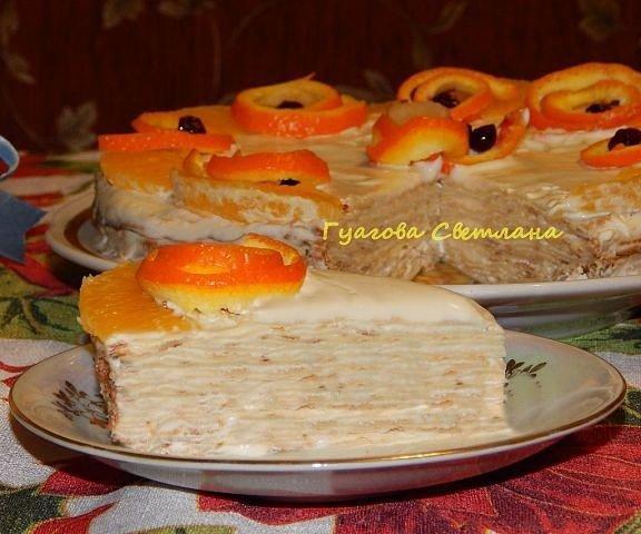 Блинный торт с творожным кремом.