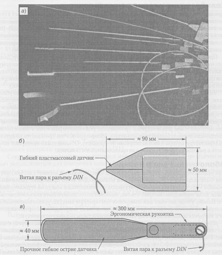 sensores de temperatura de las manos: a) las diferentes sondas para medir la temperatura del aire y de producto; b) una sonda para medir la temperatura de los paquetes; c) una sonda para medir la temperatura entre las cajas
