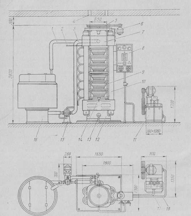 Гидропрессовая установка с вертикальным 6-чашечным прессом