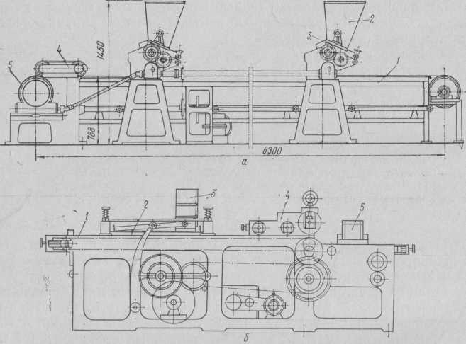 Машины для нанесения начинки на вафельные листы:  а — с валковым механизмом; б — с подвижной кареткой