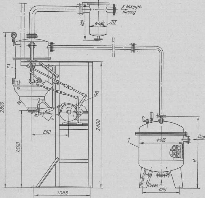 Унифицированный змеевиковый вакуум-аппарат 29-А с механическим устройством для выгрузки массы.