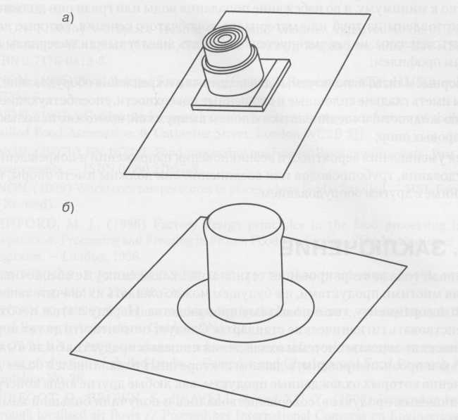 типичный выключатель с внутренними щелями; б) легко очищаемый гигиеничный вариант с резиновым колпачком