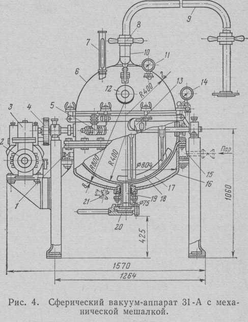 Сферичний вакуум-апарат 31-А місткістю 150 л з механічною мішалкою