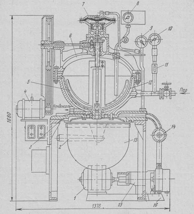 Універсальний варильний вакуум-апарат М-184 з автоматичним розвантаженням.