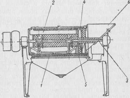 Схема устройства протирочной машины для шпареных яблок.