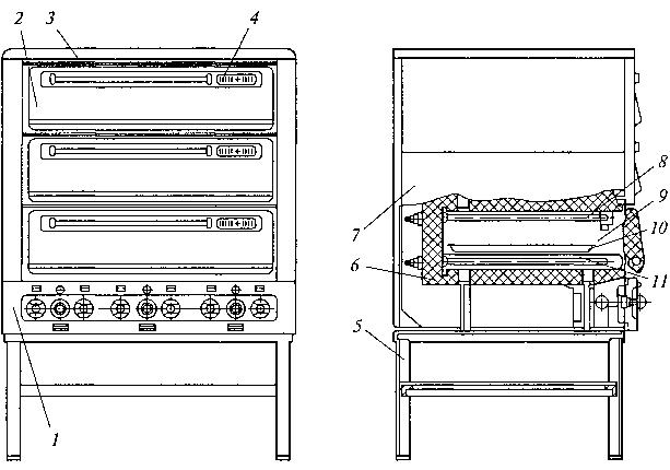 Рис. 3.33. Ярусная трехкамерная печь шкафного типа
