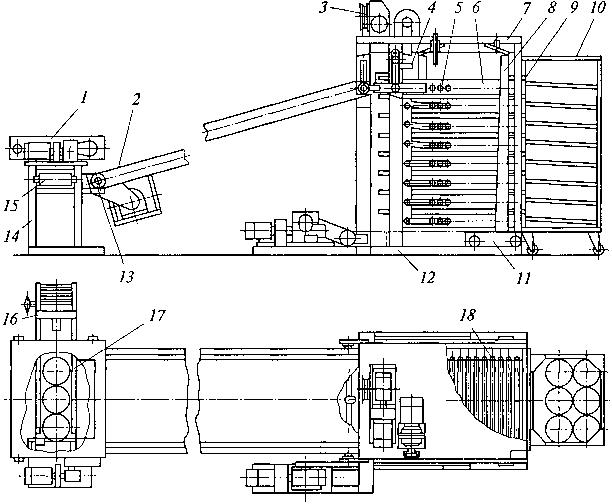 Рис. 3.54. Агрегат для укладки подового хлеба в безлотковые контейнеры